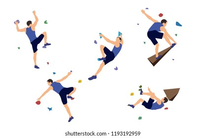 Set of men climbers on a wall in a climbing gym isolated on a white background. Vector illustration.