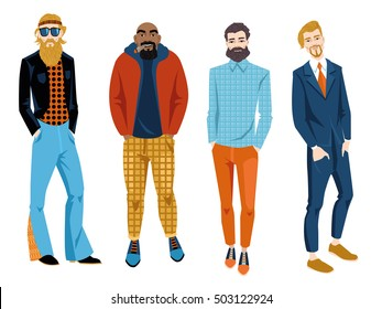 Set of men with different types of beards. Vector illustration in cartoon style
