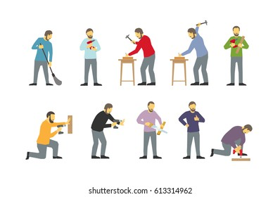 Set of men are different work-busy bearded locksmiths. Drills with drill. Hammered in with nails. Saws the tree. Tighten the screws.