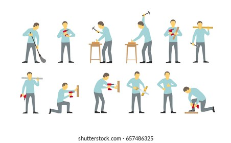 Set of men are different work-busy bearded locksmiths. Drills with drill. Hammered in with nails. Saws the tree. Tighten the screws. Vector illustration for your design