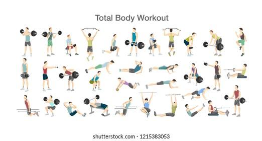 Set of men doing exercises in the gym. Fitness and healthy lifestyle. Total body workout with dumbbell, fitness ball and barbell for different groups of muscles. Isolated vector illustration