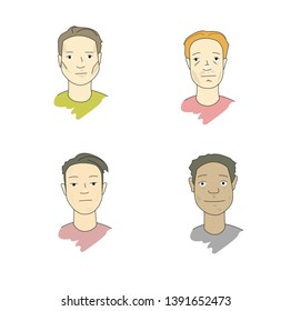 Set of men faces with different racial traits (african, european,asian, indigen). Vector line illustration. Cartoon  drawing style. Isolated on white background. Pastel colors.