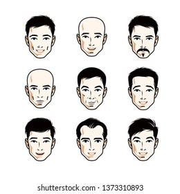 Set of men faces, human heads. Different vector characters like brunet, bald, with whiskers or bearded, handsome males.