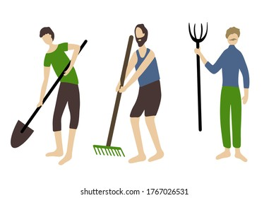 set of men with garden tools. Fork, rake and shovel in the hands of farmers. sowing and harvesting. People and agriculture.