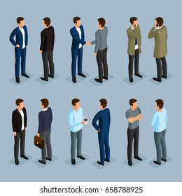 A set of men in isometric 3d in suits and modern clothes. Businessmen in different poses, front view, rear view. Vector illustration