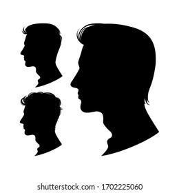 Set of men profiles isolated on white background. Vector illustration