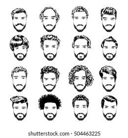 Set of men s hairstyles, beards and mustache. Hand-drawn sketch. Vector Illustration.