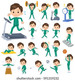 A set of men school boy green jersey on exercise and sports. There are various actions to move the body healthy. It's vector art so it's easy to edit.