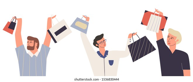 Set of men with shopping bags. Men who love shopping. Bundle of male characters holding shopping bag above his head. Flat vector illustration