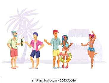 Set of men and women at a beach party. Collection happy characters on tropical beach in summer clothes with surfboards, tiki bar, lifebuoys and tropical decoration. Vacation vector flat  illustration