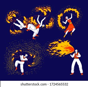 Set of Men and Women Characters Dancing and Juggling with Fire on Stage Performing Talent Show Program for Judges and Viewers. Entertainment with Flame, Performance. Linear People Vector Illustration