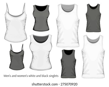 Set of men and women singlets (front view). Vector illustration