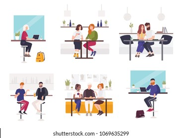 Set of men and women sitting at cafe or restaurant tables - working on laptop, talking to each other, drinking coffee or beer with friend. Male and female flat cartoon characters. Vector illustration.