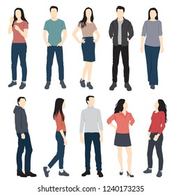 Set of men and women standing in  different poses, cartoon character, group of business people in colorful clothes, vector silhouettes and flat designe icon isolated on white backgr