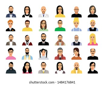 Set of men and women in various business clothes on a white background .Concept of team.Vector graphic flat design