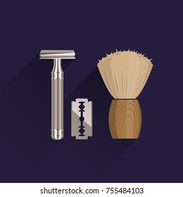 A set of men's accessories for shaving. T-shape razor, blade and shaving brush. Double edge blade razor shaver. Flat vector illustration