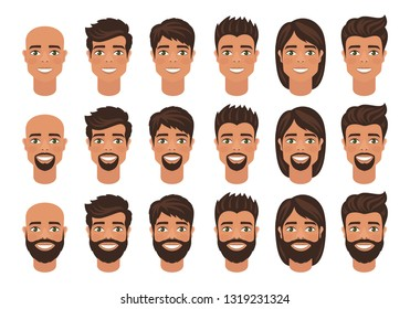 Set of mens avatars with various hairstyle: long or short hair, bald, with beard or without. Cartoon portraits isolated on white background. Flat style. Vector illustration.