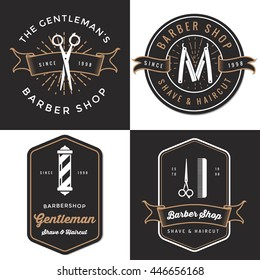 Set of men's barber shop logo, badges, label, tag design in vintage style. Shave and haircut banner. Vector illustration.