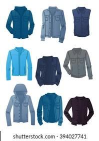 Set of men's denim jackets isolated on white background