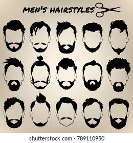Set of men's different hairstyles and beards on beige background. ?ollection of hipster's silhouettes. Vector illustration.