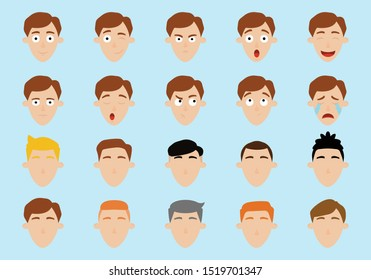 Set of men's emotions and hair. Vector illustration.