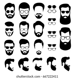 Set of men's faces with different haircuts, mustaches, beards and glasses. Flat design. Silhouettes, emblems, icons, labels isolated on white background. Vector EPS10.