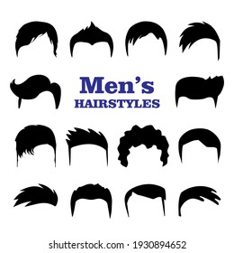 Set of Mens hairstyles. Design constructor with black silhouette fashionable mens haircut isolated on white background. Fashion hand drawn vector illustration.