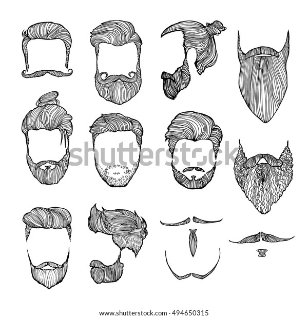 Set Mens Hairstyles Mustaches Beards Handdrawn Stock Vector