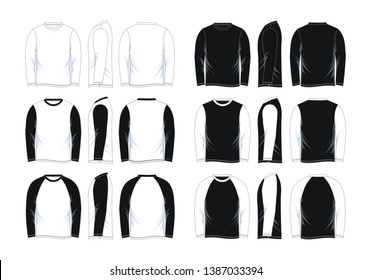 Set men's long sleeve t-shirt. Front, side and back views. Black and white variants. vector image