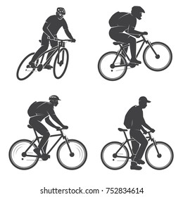 Set of mens on the Mountain bikings. Vector illustration. Concept for head badges, shirt, print, stamp or biking tourism. Outdoor adventure. Extreme mtb sport template.