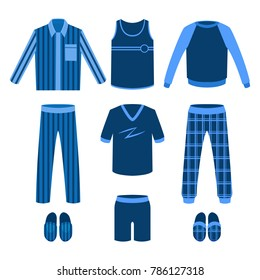 A set of men's pajamas for sleep, parties, holidays. Vector illustration.