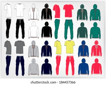 Set of men's sport clothes: zip-through hoodie, sweetpants and t-shirt. Vector illustration of men's sports suit.