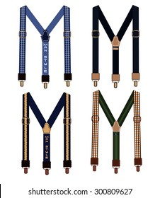 A set of men's suspenders on a white background