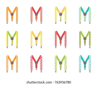 A set of men's suspenders. Suspenders vector illustration