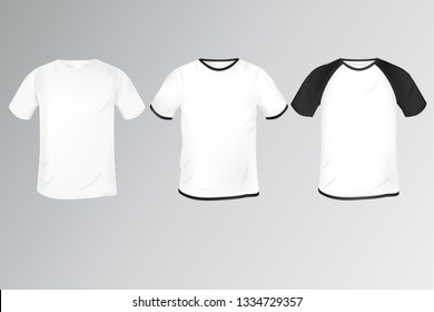 a set of men's t-shirts in different styles: simple white, with a dedicated collar and with Raglan. mocap for clothing design