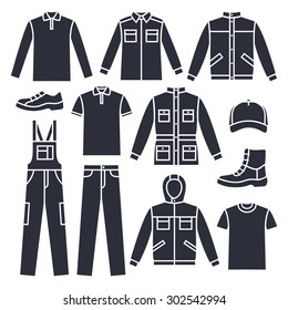 Set of men's working clothes icons. Corporate style. Formal men's clothes. Various types of men's clothes for work and leisure. Various male clothing. Menswear icons