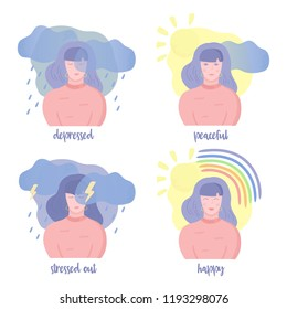Set of mental states illustrations. Girl happy, depressed, peaceful and stressed out. Mental health weather concept. Clouds, rain, lightning, sun, rainbow. Vector illustration, cartoon flat style.