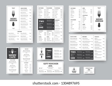 set of menus for cafes and restaurants in the classic white style with division into blocks. Templates A4, three-fold, DL, gift voucher and loyalty card. Vector illustration