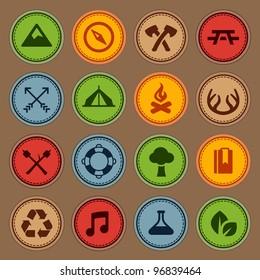 Set of merit achievement badges for outdoor activities
