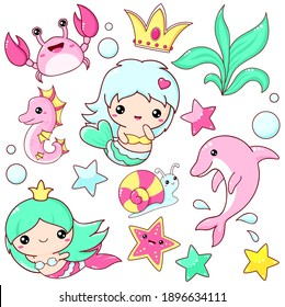 Set of mermaid icons in kawaii style. Collection of stickers with little mermaids, cute dolphin, crab, seahorse, starfish, snail. Vector illustration EPS8