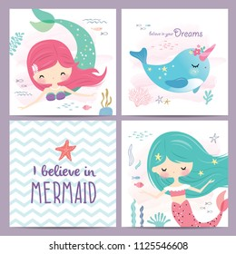 Set of mermaid and marine life greeting cards design