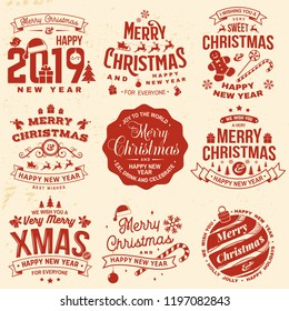 Set of Merry Christmas and 2019 Happy New Year stamp, sticker set with snowflakes, hanging christmas ball, santa hat, candy. Vector. Vintage typography design for xmas, new year emblem in retro style.