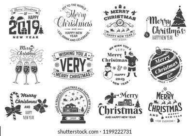 Set of Merry Christmas and 2019 Happy New Year stamp, sticker Set quotes with snowflakes, snowman, santa claus, candy, sweet candy, cookies. Vector. Vintage typography design for xmas, new year emblem