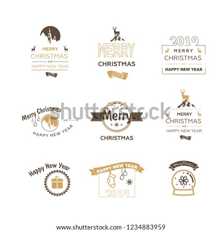 1c4a2b95ce949 Set Merry Christmas 2019 Happy New Stock Vector (Royalty Free ...