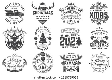 Set of Merry Christmas and 2021 Happy New Year stamp, sticker Set quotes with snowflakes, snowman, santa claus, candy, sweet candy, truck. Vector. Vintage typography design for xmas, new year emblem