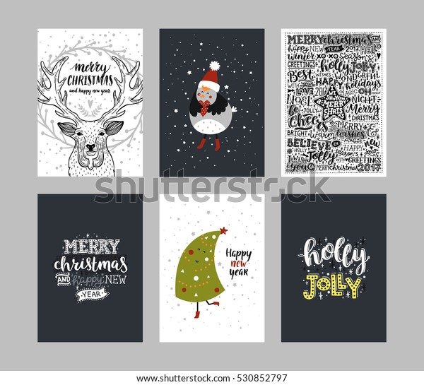 Merry Christmas Letter Y.Set Merry Christmas Cards Vector Holiday Stock Vector