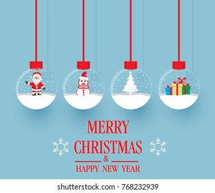 Set of Merry christmas glass ball collection. Vector illustration