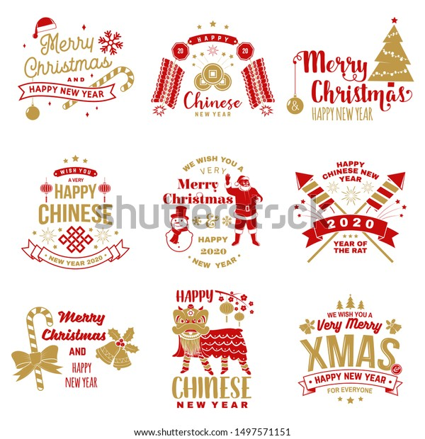 Merry Christmas In Chinese.Set Merry Christmas Happy Chinese New Stock Vector Royalty