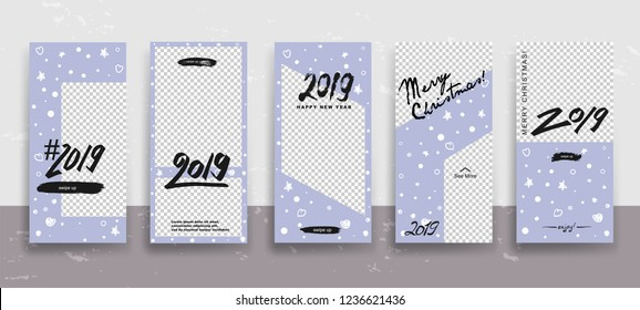 Set of Merry Christmas and Happy New Year Stories template. Streaming. Creative universal cards  in trendy style with Hand Drawn textures on transparent background for social media. Vector