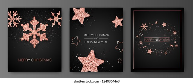 Set of Merry Christmas and Happy New Year card templates with pink shiny snowflakes and stars. Vector background.
